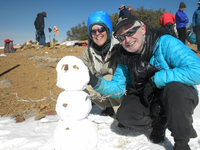 Building a snowman on Topatopa